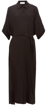 Raey Dolman Sleeve Belted Silk Shirtdress - Womens - Black
