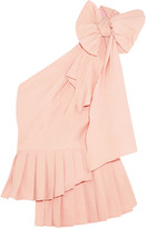 Sea Bow-embellished One-shoulder Poplin Top - Pastel pink