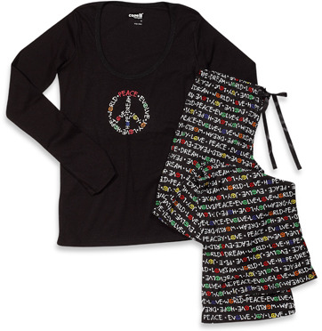 Bed Bath & Beyond Capelli® Peace Multicolor 2-Piece Ladies Pajama Set