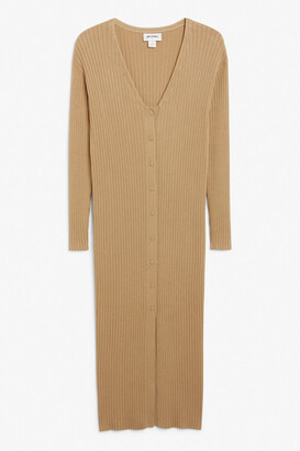 Monki Ribbed knit cardigan dress