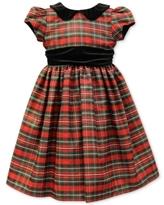 Jayne Copeland Velvet-Trim Plaid Special Occasion Dress, Little Girls (4-6X)