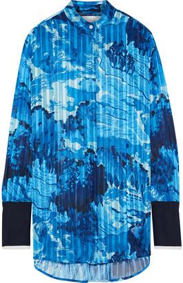 Victoria Victoria Beckham Silk-trimmed Printed Burnout Satin Shirt