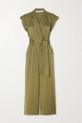 Veronica Beard Ophelia Belted Satin-crepe Jumpsuit - Army green