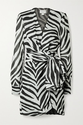 Redemption Knotted Metallic Zebra-print Jersey Mini Dress - Zebra print