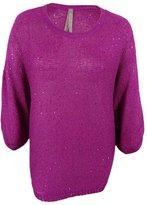 Melissa McCarthy Womens Plus Knit Dolman Sleeves Sweater Purple