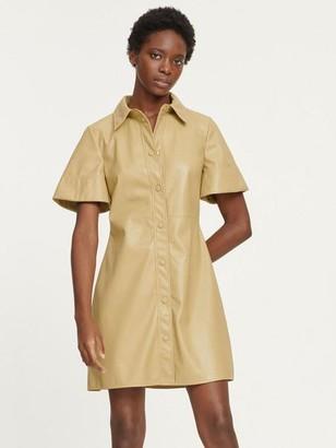 Samsoe & Samsoe Shereen Faux Leather Shirt Dress Olive Grey - L