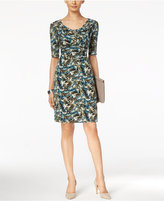 Connected Printed Drape-Neck Dress