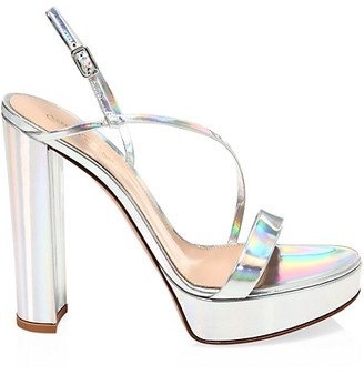 Gianvito Rossi Kimberly Platform Mirrored Leather Slingback Sandals