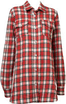 Off-White Red Flannel Plaid Shirt