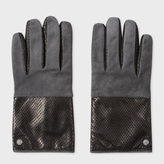 Paul Smith Men's Grey Suede Panelled Perforated Leather Gloves