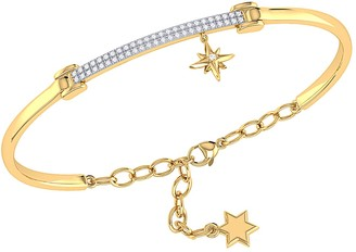 Lmj Little North Star Diamond Bar Bangle In 14K Yellow Gold Vermeil