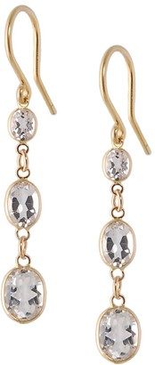 Amy Holton Designs Three Stone Bezel Set White Topaz Earrings In 14 Karat Yellow Gold