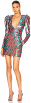 Dundas Long Sleeve V Neck Mini Dress in Multicolor | FWRD