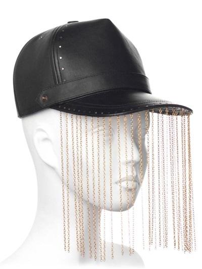 Chain Fringed Leather Baseball Hat