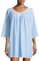 Oscar de la Renta Cross-Dyed Short Gown with Lace-Trim