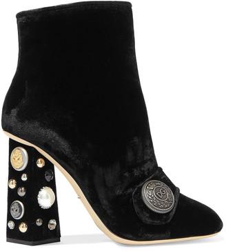 Dolce & Gabbana Jackie Embellished Velvet Ankle Boots