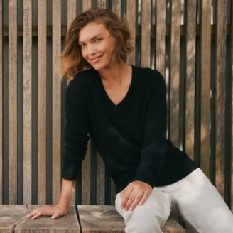 The White Company Cashmere Layering V-Neck Jumper, Black, Extra Small