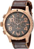 Nixon Men's A3632001 48-20 Gun Rose Chrono Leather Watch
