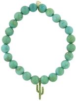Sydney Evan Emerald Cactus On Green Turquoise Beaded Bracelet