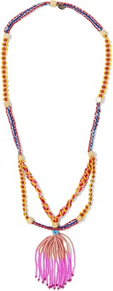 Red(V) Gold-tone, Bead And Tassel Necklace