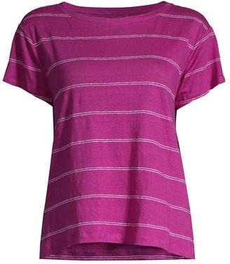 Eileen Fisher Striped Organic Linen Jersey T-Shirt