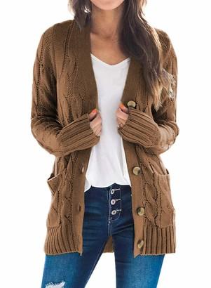Dearlove Women Open Front Button Down Long Sleeve Sweater Cardigan Outwear with Pocket Size 8 Gray
