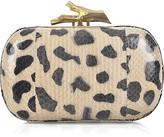 Leopard-print snakeskin clutch