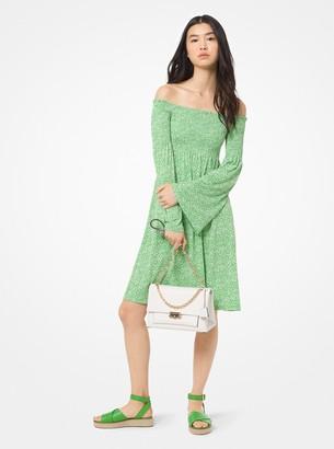 MICHAEL Michael Kors Mini Floral Matte-Jersey Off-the-Shoulder Dress