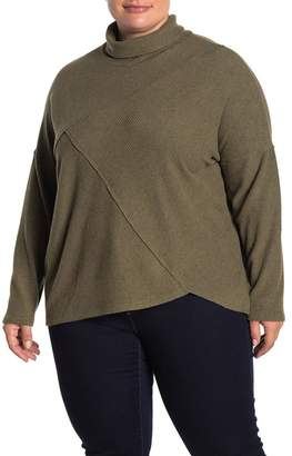 H By Bordeaux Ribbed Knit Mock Neck Sweater (Plus Size)