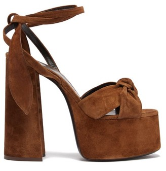 Saint Laurent Bianca Suede Platform Sandals - Tan