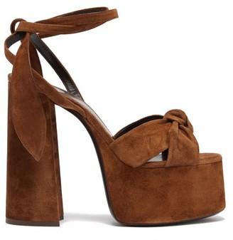 Saint Laurent Bianca Suede Platform Sandals - Womens - Tan