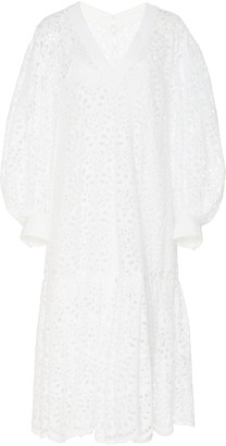 Carolina Herrera Oversized Broderie-Anglaise Cotton Dress