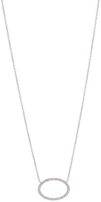 Carriere Sterling Silver Diamond Open Oval Pendant Necklace - 0.12 ctw
