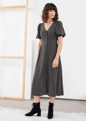 And other stories Floral Button Up Midi Dress