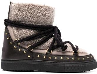 INUIKII Shearling-Panelled Lace-Up Boots
