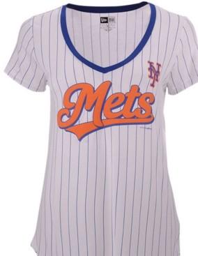 New Era Women's New York Mets Pinstripe V-Neck T-Shirt