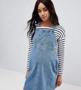 Asos DESIGN Maternity denim overall dress in midwash blue