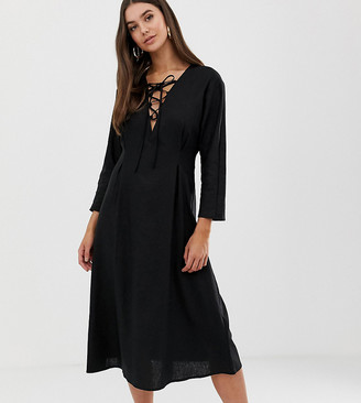 Asos DESIGN Tall Lace Up midi dress in linen