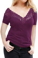 Min Qiao Women's Plus Size Sexy Deep V Neck Short Sleeve Floral Lace Spliced Tops Blouse Shirt