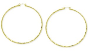 Essentials Large Textured Skinny Hoop Fine Silver Plate Earrings, 3""