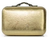 House Of Harlow 1960 Marley Clutch in Distressed Gold as Seen On Nicole Richie