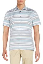 Perry Ellis Striped Cotton Short Sleeve Shirt