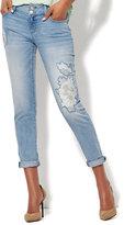 New York & Co. Soho Jeans - Floral Appliqué Boyfriend Jean - Blue Wish