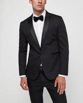 Express Extra Slim Black Satin Peak Lapel Tuxedo Jacket