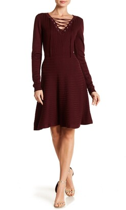 Nina Leonard V-Neck Lace-Up Sweater Dress
