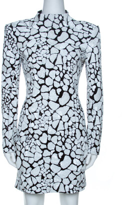 Balmain Monochrome Sequin Embellished Mini Dress M