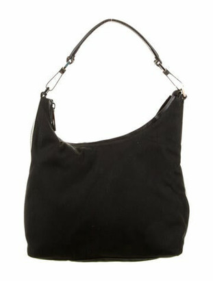 Gucci Leather-Trimmed Canvas Hobo Black