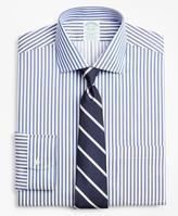 Brooks Brothers Stretch Milano Slim-Fit Dress Shirt, Non-Iron Twill English Collar Bold Stripe