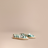 Burberry Peony Rose Print Canvas Espadrilles