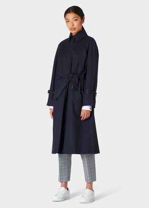 Paul Smith Women's Navy Loro Piana Storm System Wool Trench Coat With Detachable Liner